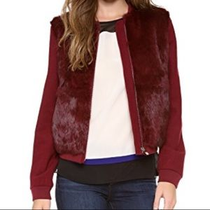 DVF Carrington Red Rabbit Fur Blazer